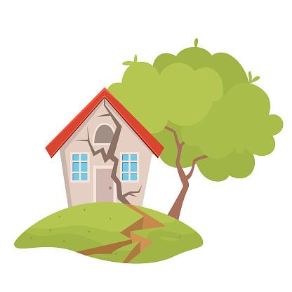 Village house destruction earthquake vector illustration. Damage countryside dwelling insurance risk