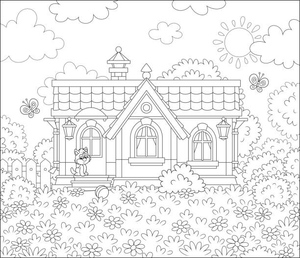 Village house on a sunny summer day Small country cottage and a cute little kitten watching funny butterflies flittering among flowers on a lawn, black and white vector illustration in a cartoon style for a coloring book dollhouse stock illustrations