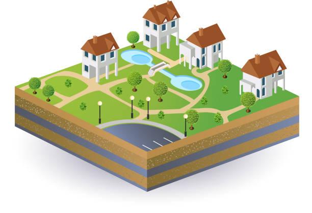 сельские дома - иллюстрации на тему архитектура stock illustrations