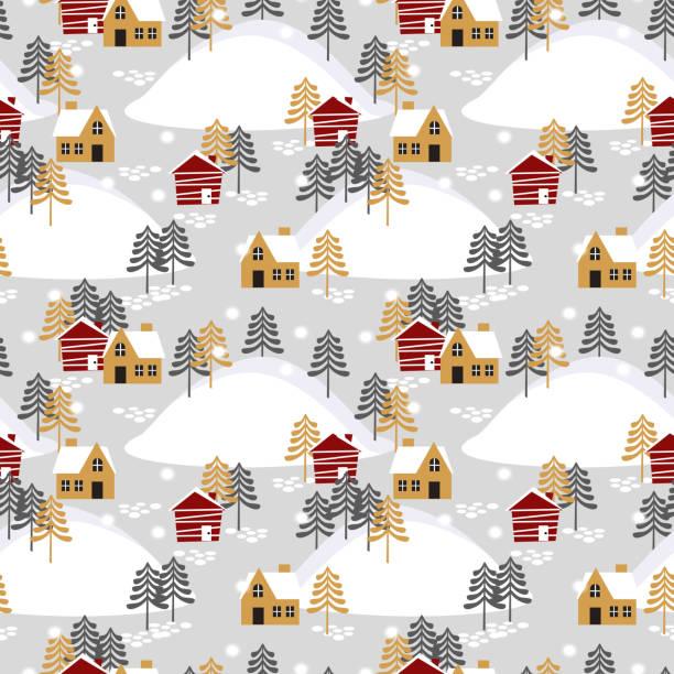 stockillustraties, clipart, cartoons en iconen met dorp in naadloze patroon van het seizoen van kerstmis - christmas cabin