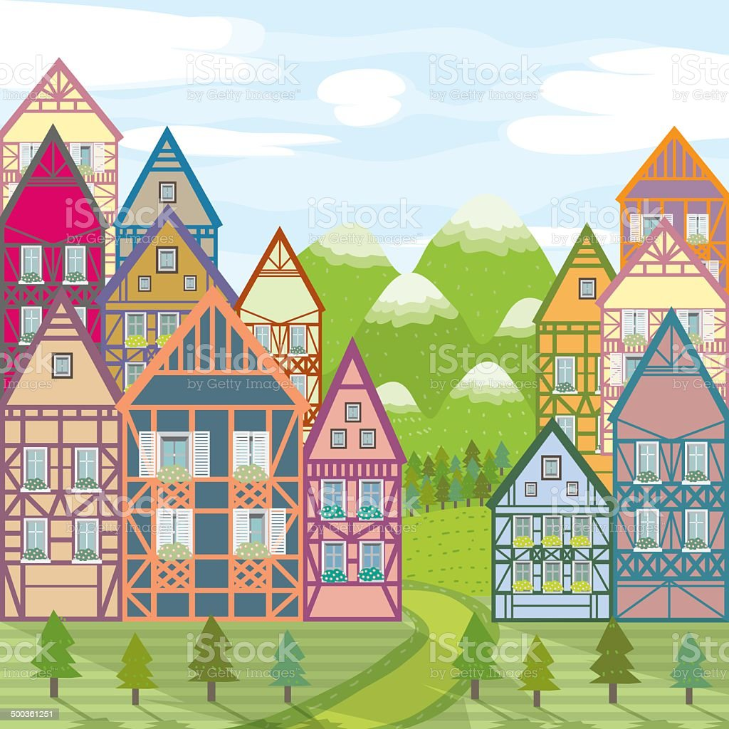 Village in mountains with timber houses vector art illustration