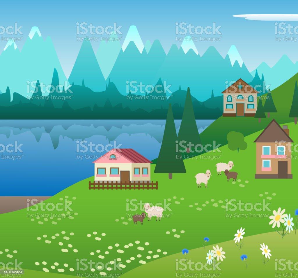 village in the Alpine mountains vector art illustration