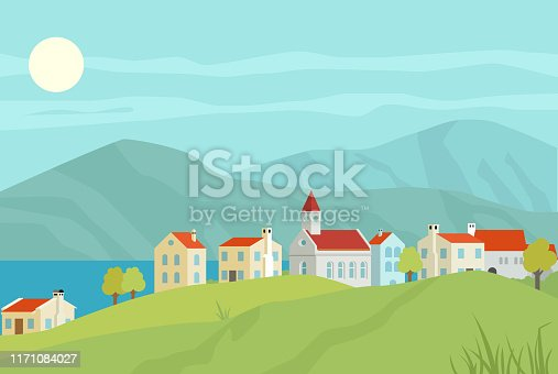 Vector illustration of small charming town by the lake with mountains in the back