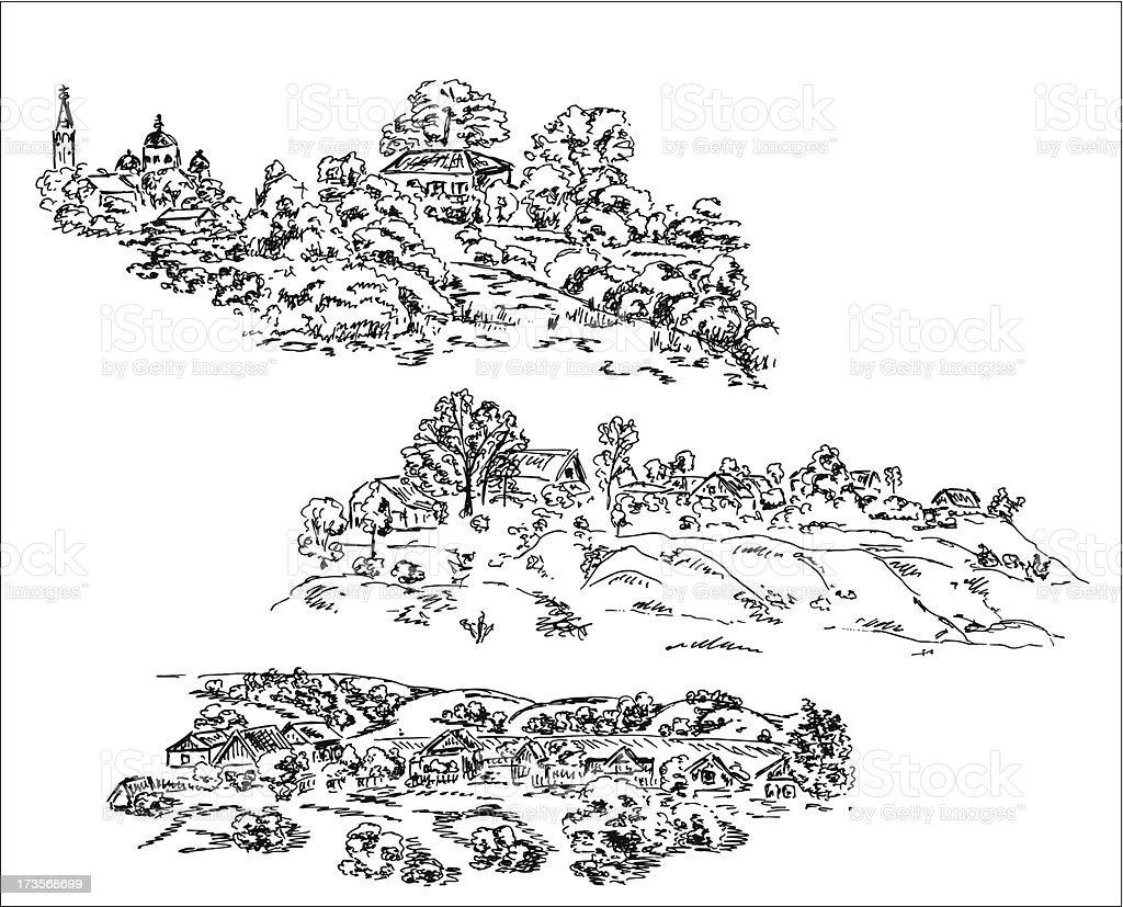 Village landscape - hand drawn illustration. vector art illustration