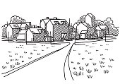 Hand-drawn vector drawing of a Landscape with a little Village, a Road leads to the Buildings. Black-and-White sketch on a transparent background (.eps-file). Included files are EPS (v10) and Hi-Res JPG.