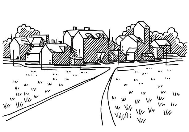 Village Landscape Road Drawing Hand-drawn vector drawing of a Landscape with a little Village, a Road leads to the Buildings. Black-and-White sketch on a transparent background (.eps-file). Included files are EPS (v10) and Hi-Res JPG. village stock illustrations