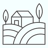 Village landscape thin line icon. House with field and trees in the countryside. Autumn nature vector design concept, outline style pictogram on white background, use for web and app. Eps 10