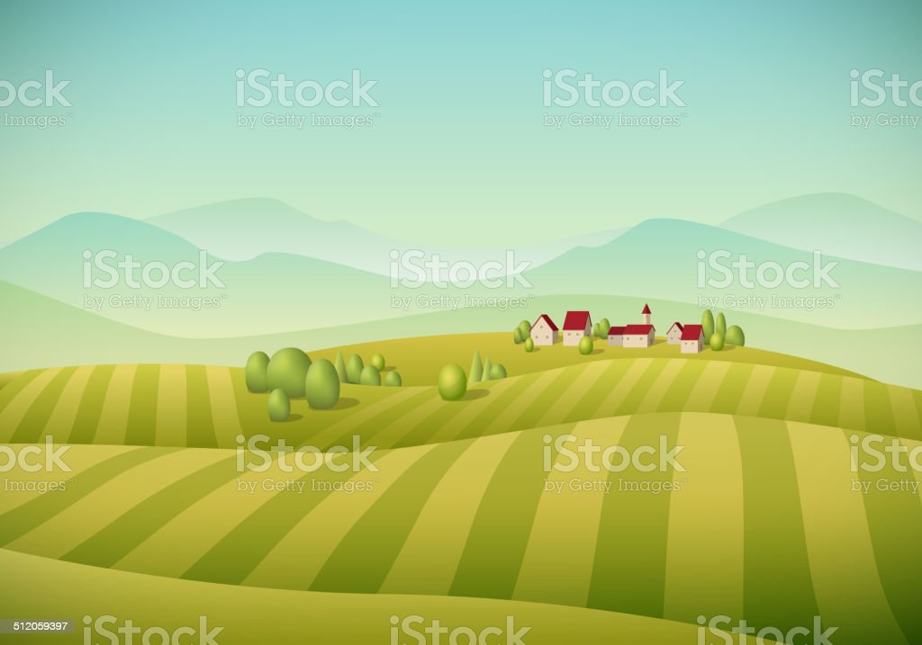 Village Landscape vector art illustration