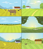 Village landscapes vector illustration farm field and houses agriculture graphic country side