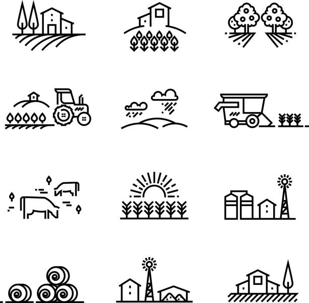 Village line landscapes with agricultural field and farm buildings. Linear farming vector concepts Village line landscapes with agricultural field and farm buildings. Linear farming vector concepts. Farmland and field, illustration of agriculture garden and plantation harvesting stock illustrations