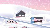 Village on the hill in winter with snowfall, pink theme