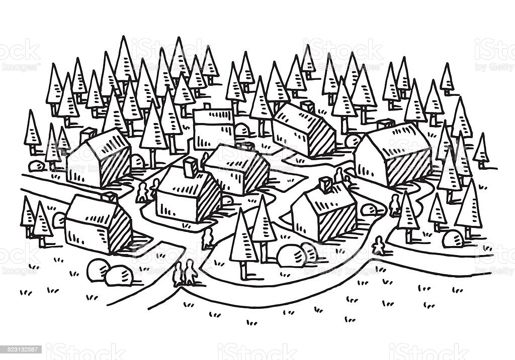 Village rural landscape nature drawing stock vector art more images of architecture 523132587 - Dessin village ...