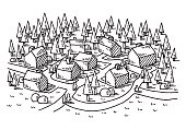 Hand-drawn vector drawing of a Village in a Rural Landscape, Living in the Nature Concept Image. Black-and-White sketch on a transparent background (.eps-file). Included files are EPS (v10) and Hi-Res JPG.
