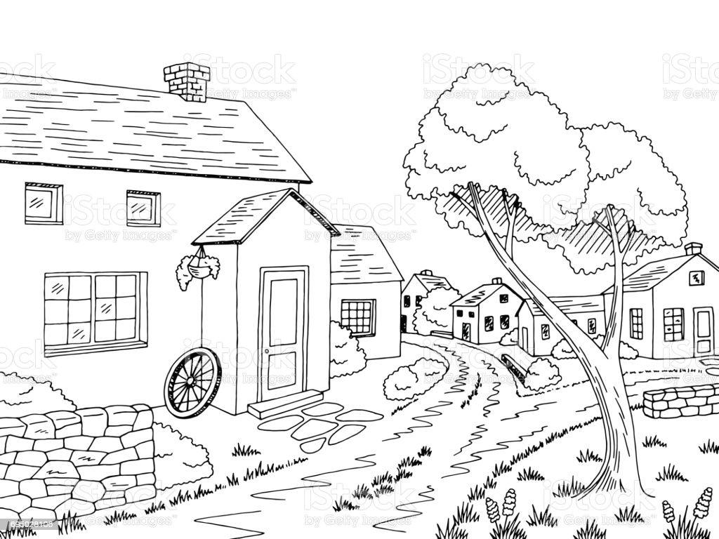 village street road graphic black white landscape sketch