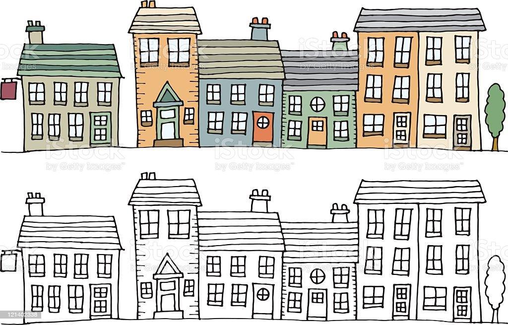 Village street vector art illustration