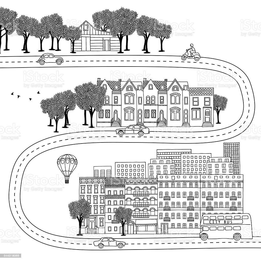 Village, town and big city vector art illustration