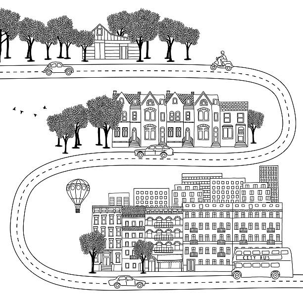 Village, town and big city vector art illustration