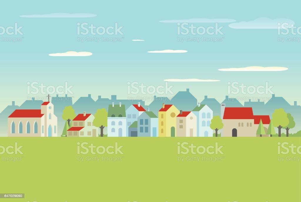 Village vector art illustration