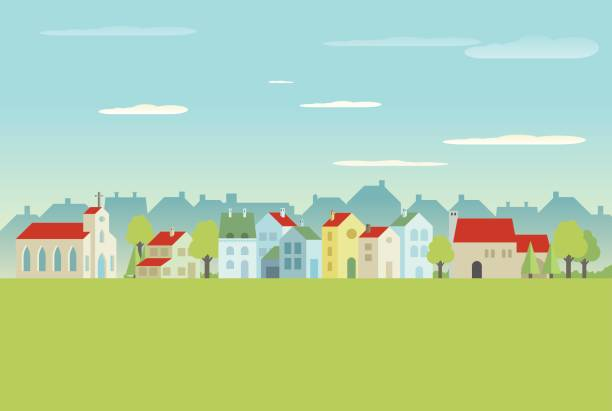 wieś  - suburbs stock illustrations