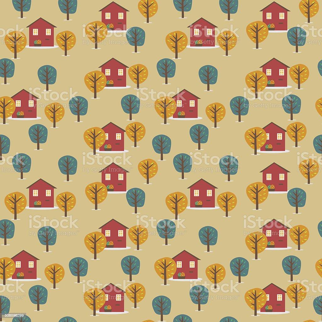 Village vector seamless background vector art illustration