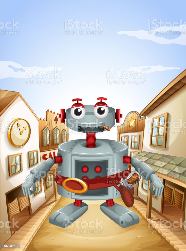 Village with a robot royalty-free stock vector art