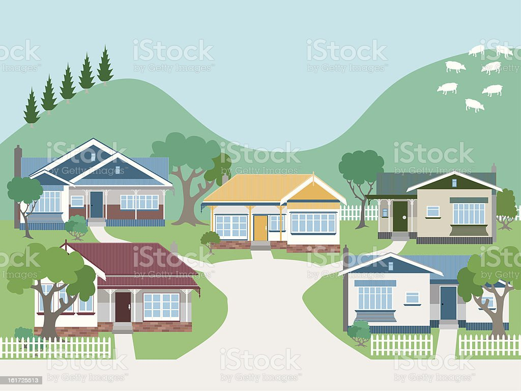 Villas and Bungalow Houses in Suburban Street vector art illustration