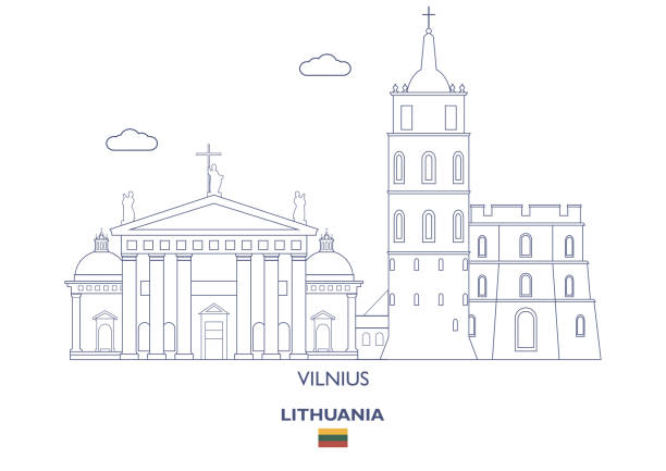 Vilnius City Skyline, Lithuania Vilnius Linear City Skyline, Lithuania lithuania stock illustrations