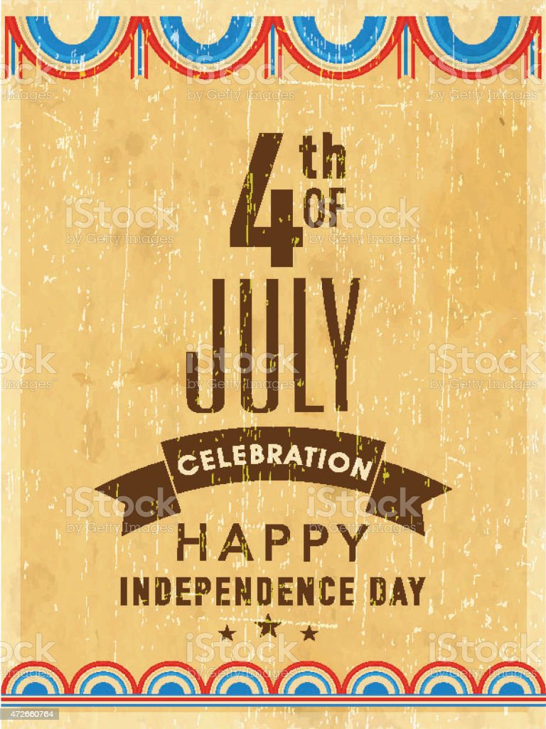 Vinatge Invitation Card For American Independence Day