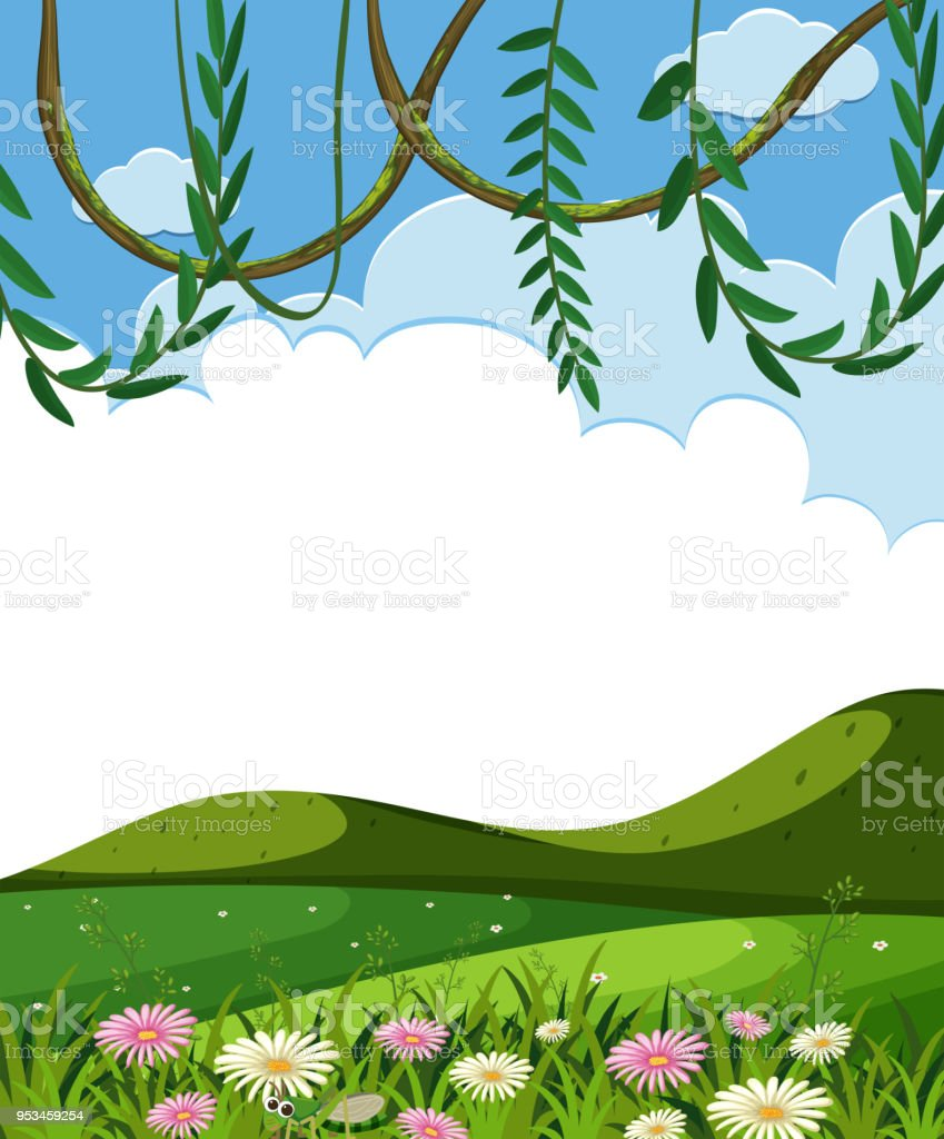 vine and green hills template stock vector art more images of art