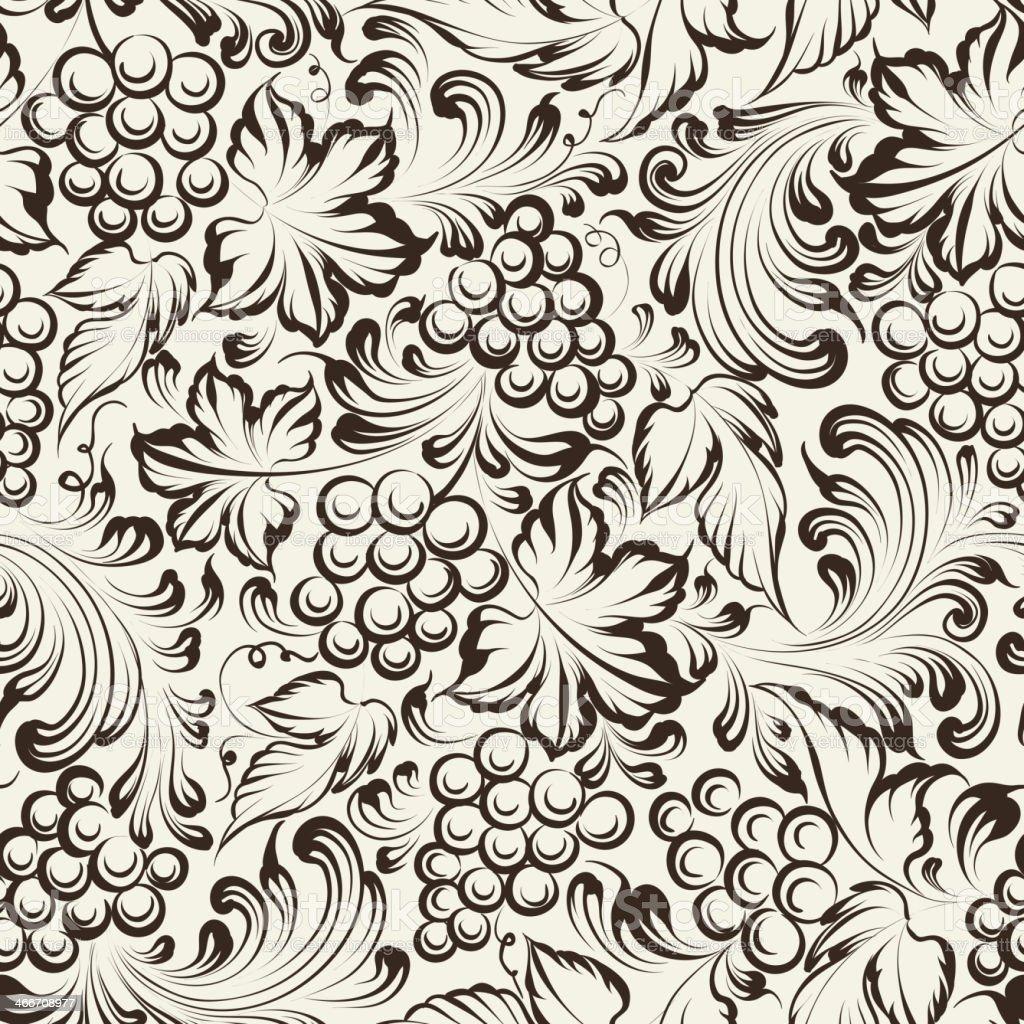 Vine seamless background vector art illustration