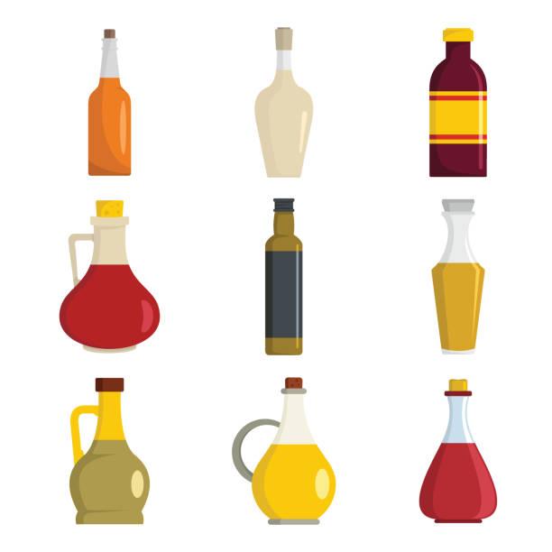 Vinegar bottle icons set, flat style Vinegar bottle icons set. Flat illustration of 9 vinegar bottle icons for web vinegar stock illustrations