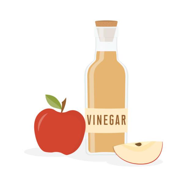 vinegar bottle isolated red apple and bottle of vinegar are isolated on white background, salad liquid, good seasoning vinegar stock illustrations