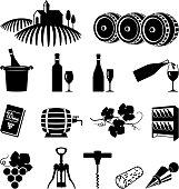Vineyard and wine black & white vector icon set