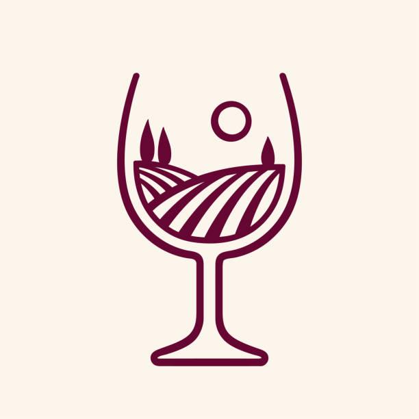 bildbanksillustrationer, clip art samt tecknat material och ikoner med vingården landskap i glas vin - vineyard