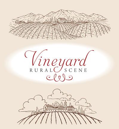 A elegant vector illustration of a romantic rural scene. Ideal for a bottle label.
