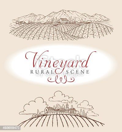 A elegant vector illustration of a romantic rural scene. Ideal for a bottle label.