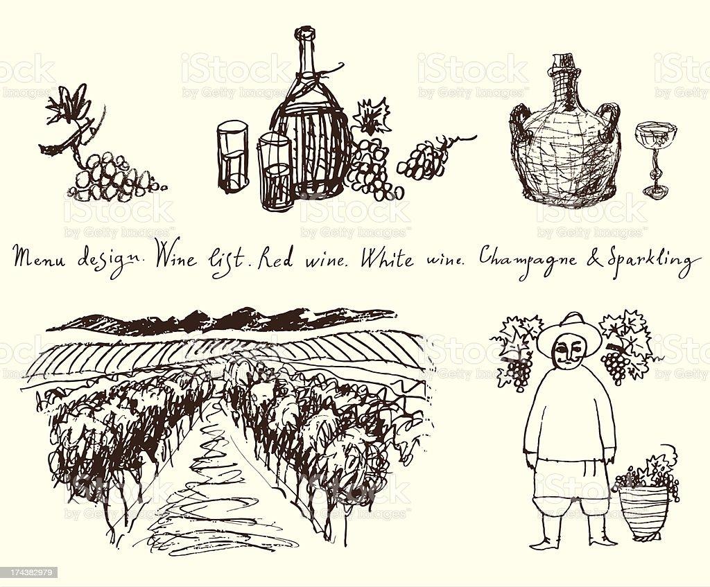 Vineyard. Wine & Grape illustration. royalty-free stock vector art