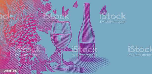 Vineyard wine grapes with bottle and glass of wine vector id1063861350?b=1&k=6&m=1063861350&s=612x612&h=5e8mm1b2chrlnvlmwuksymhs4fsgwr  wcs3gekdrlm=