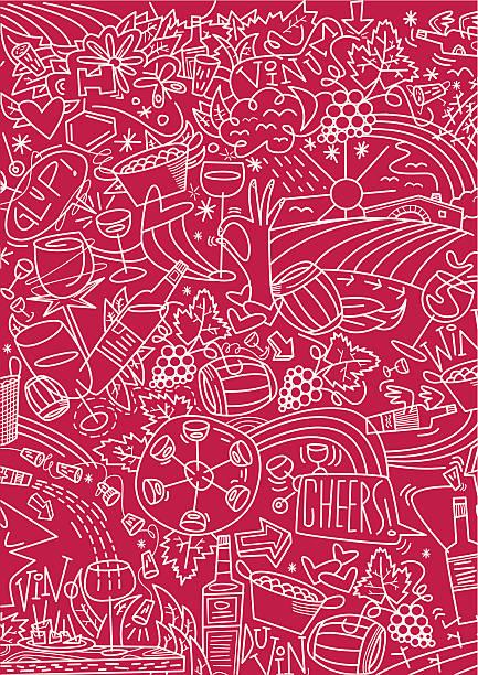 Vino. Tramado sobre fondo rojo - ilustración de arte vectorial