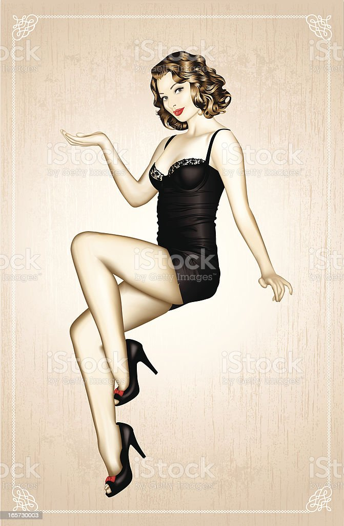 Vintage 1950's Pin-Up vector art illustration