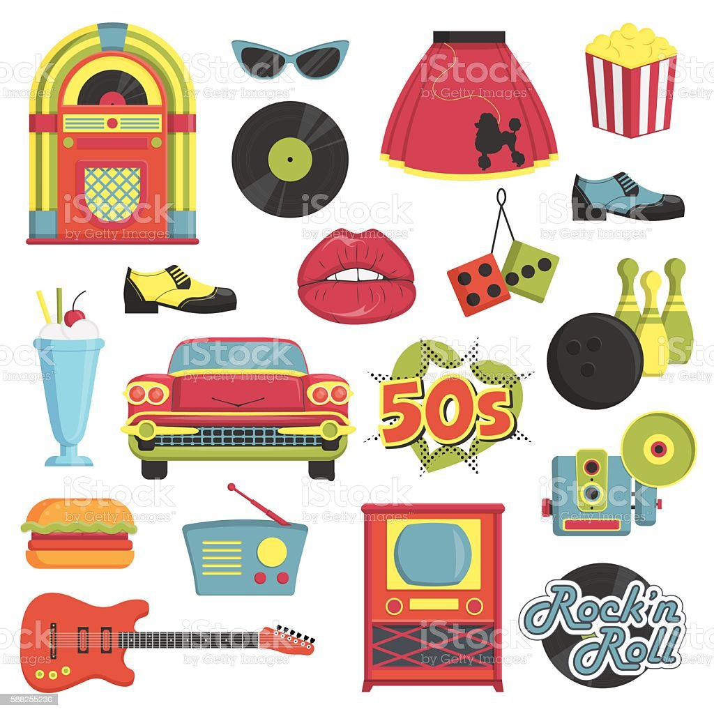Vintage 1950s retro style item set vector art illustration
