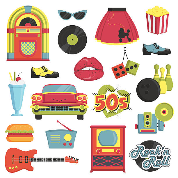 vintage 1950s retro style item set - 1950s style stock illustrations, clip art, cartoons, & icons
