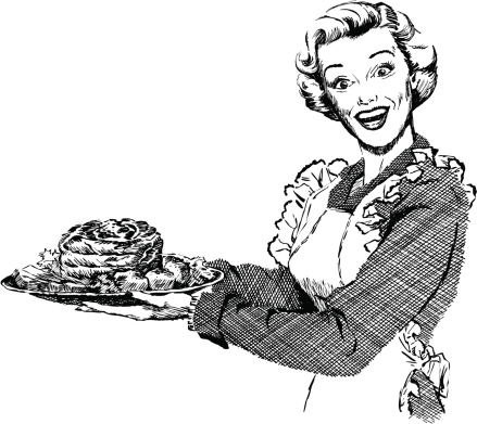 Vintage 1950s etched-style woman serving roast for dinner.  Detailed black and white from authentic hand-drawn scratchboard.  No white fills. For more vintage advertising art in my portfolio. Click this banner.