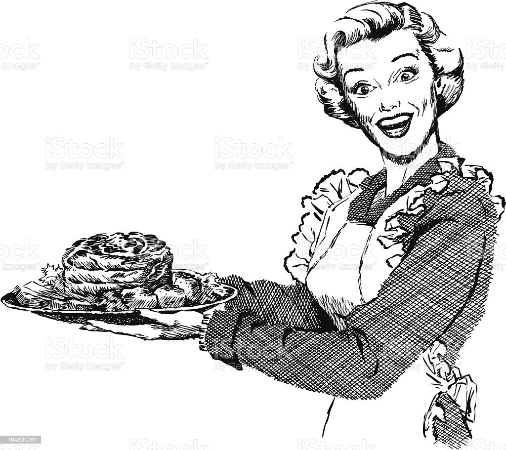 Vintage 1950s Woman Serving Dinner vector art illustration