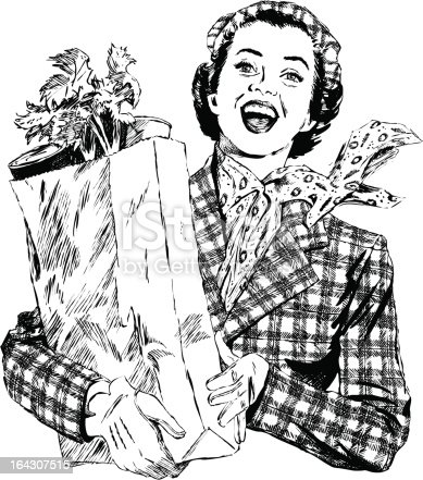 Vintage 1950s etched-style woman with grocery bag.  Detailed black and white from authentic hand-drawn scratchboard. No white fills. For more vintage advertising art in my portfolio. Click this banner.