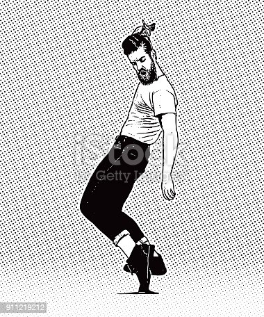 istock Vintage 1950's young hipster man dancing and combing hair 911219212