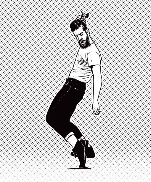 ilustrações, clipart, desenhos animados e ícones de jovem hippie do vintage 1950 homem dançando e pentear o cabelo - moda hipster