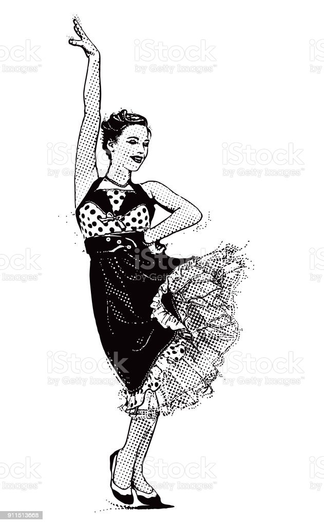 Vintage 1950's young woman hipster dancing with passion vector art illustration