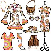 Hippie Mod Set includes: Bell Sleeve Dress,  love beads with peace symbol, leather purse, mannequin, sunglass, floppy hat, tie dye t-shirt, go go boots, vest with fringe and buttons.