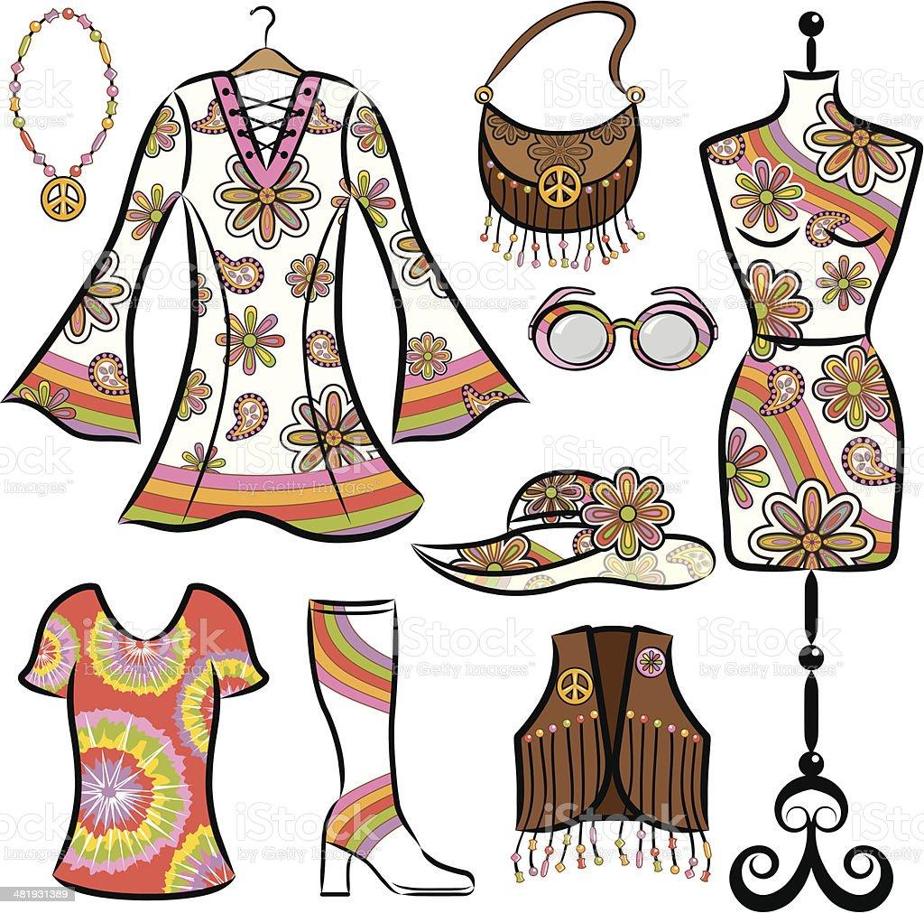 Vintage ropa de 1960 - ilustración de arte vectorial